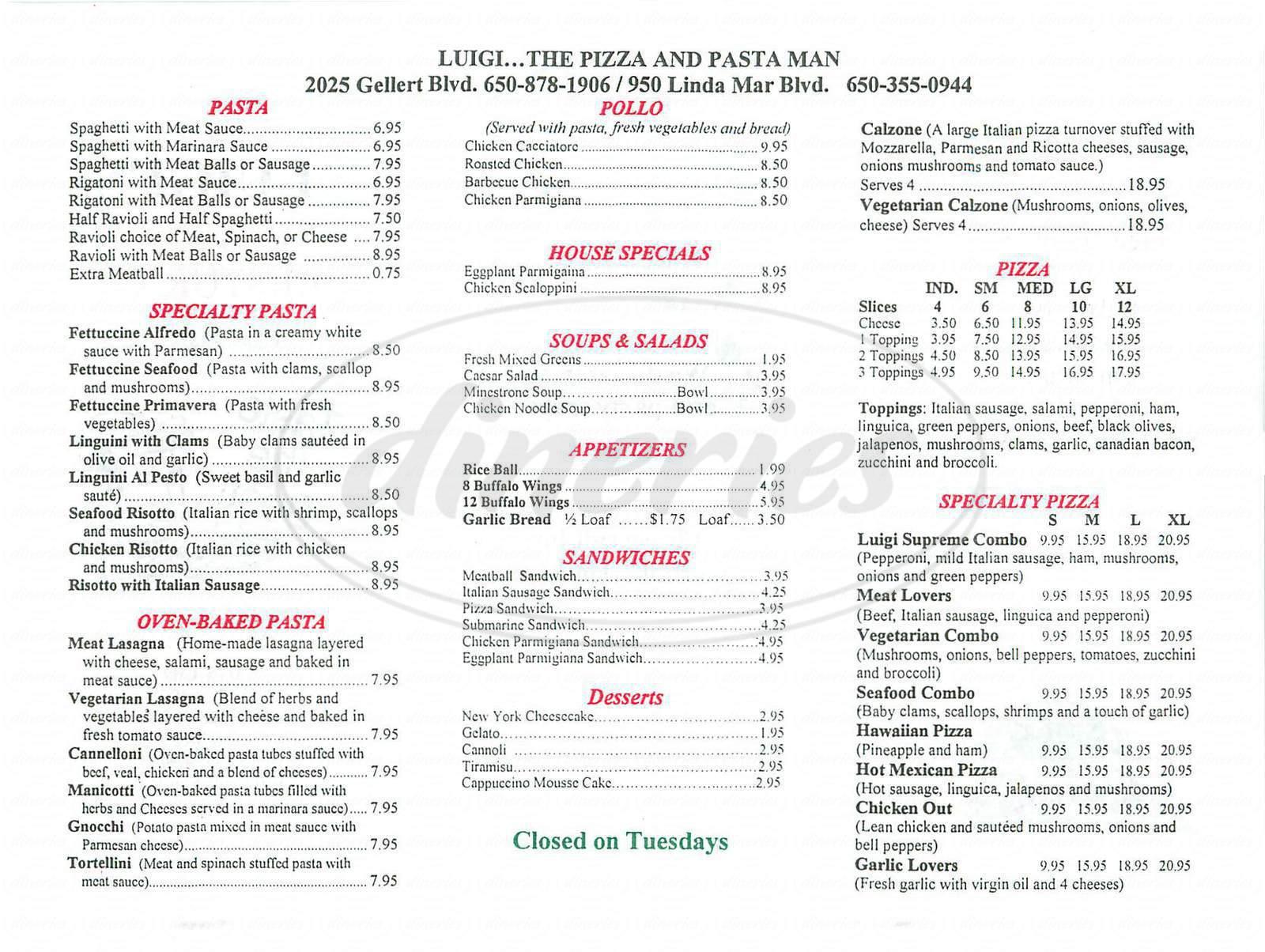 Luigi S Restaurant Menu