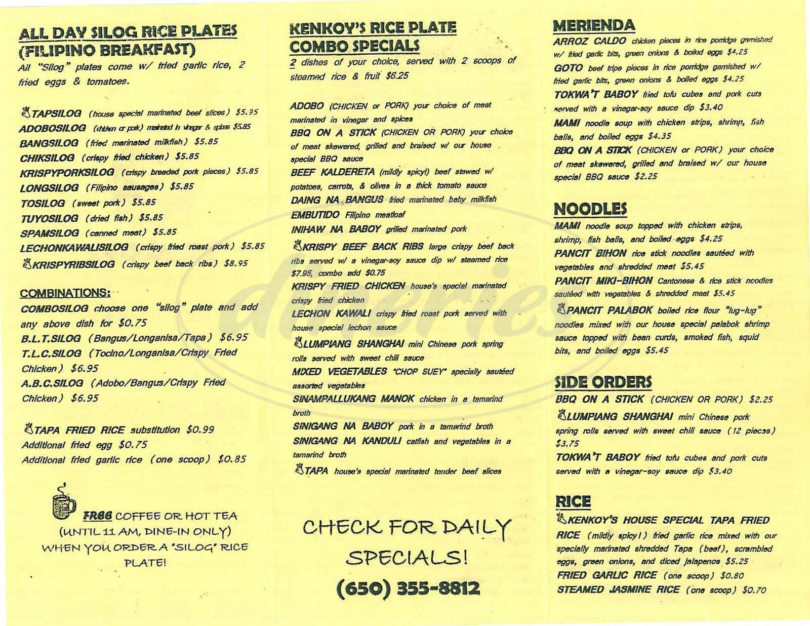 kenkoys cafe menu pacifica dineries kenkoys cafe menu pacifica dineries