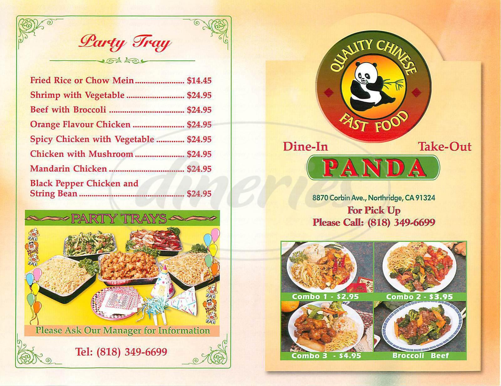 Panda Chinese Fast Food Menu Northridge Dineries