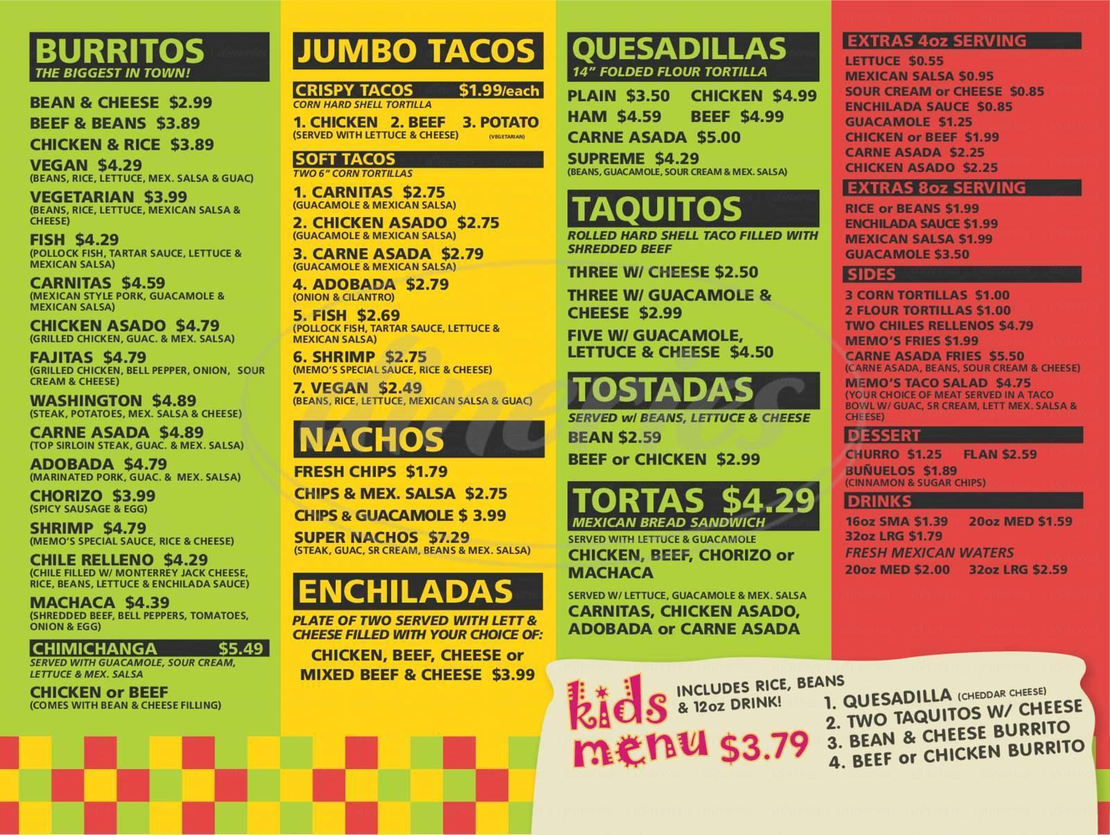 memo s mexican food restaurant menu tacoma dineries