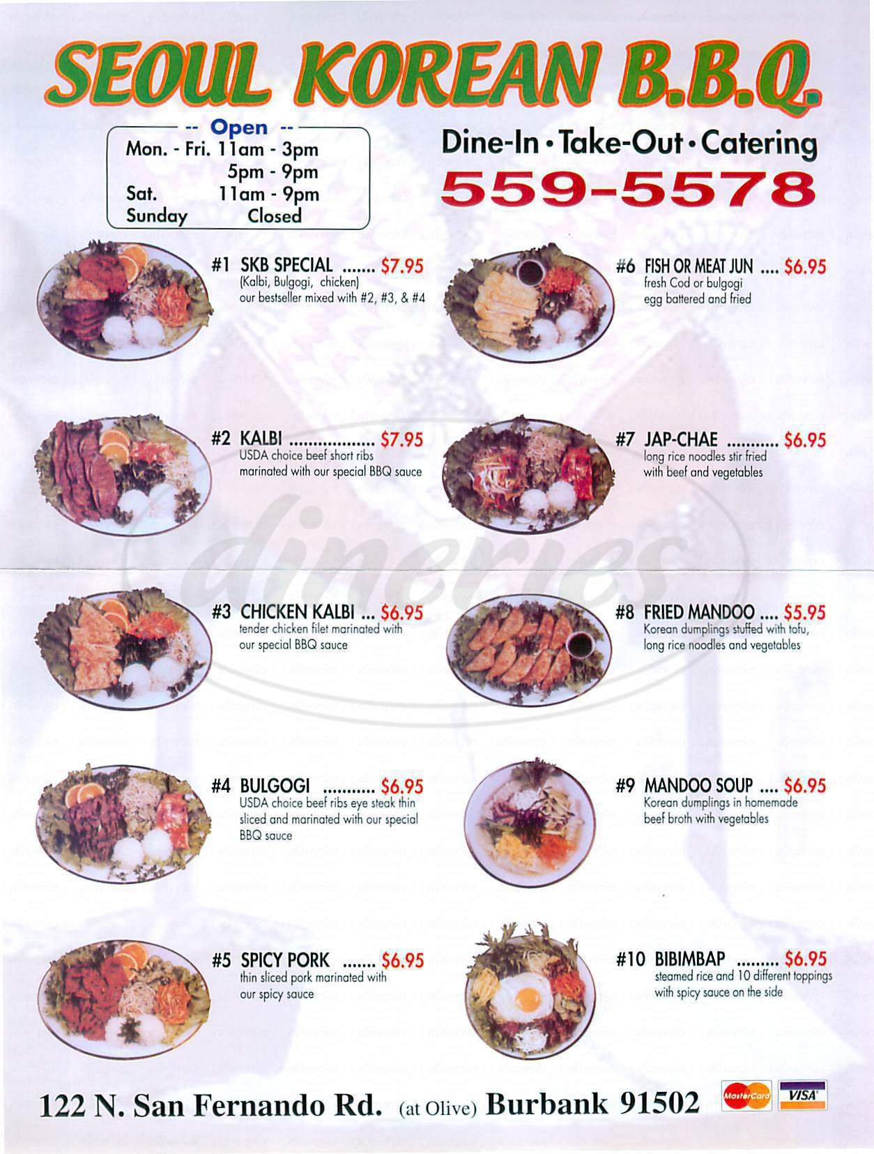Seoul Korean Barbecue Menu Burbank Dineries