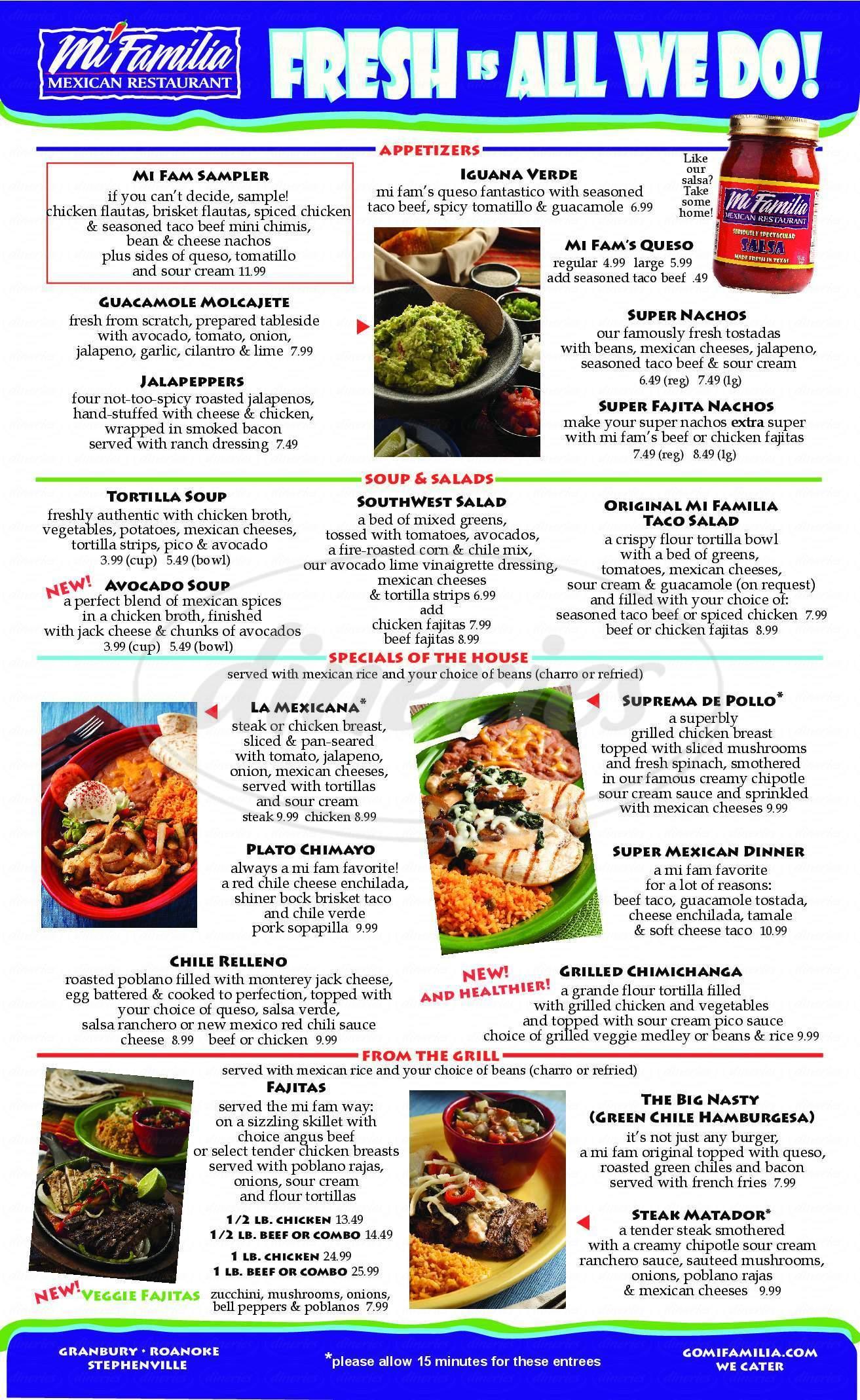 Mi Familia Mexican Restaurant Cantina Menu Granbury
