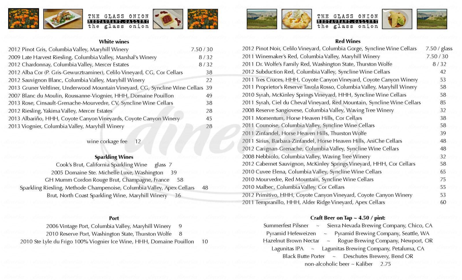 The Glass Onion Menu - Goldendale - Dineries