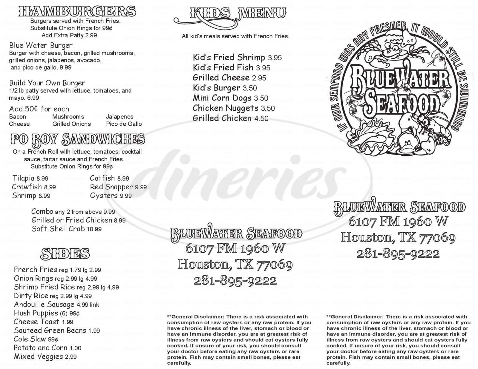 Blue Water Seafood Restaurant Big Menu - Houston - Dineries