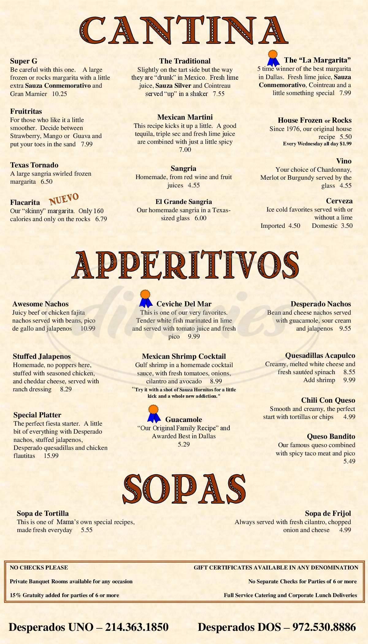Desperados Menu Garland Dineries