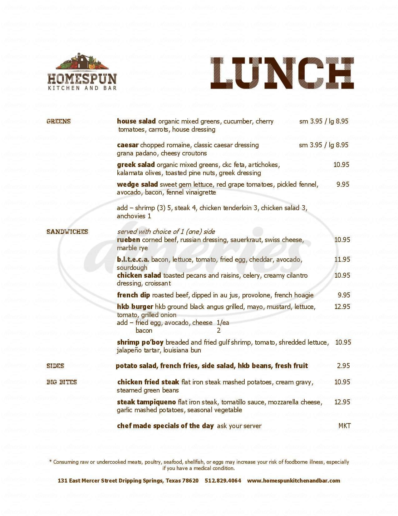 Homespun Kitchen And Bar Menu Dripping Springs Dineries