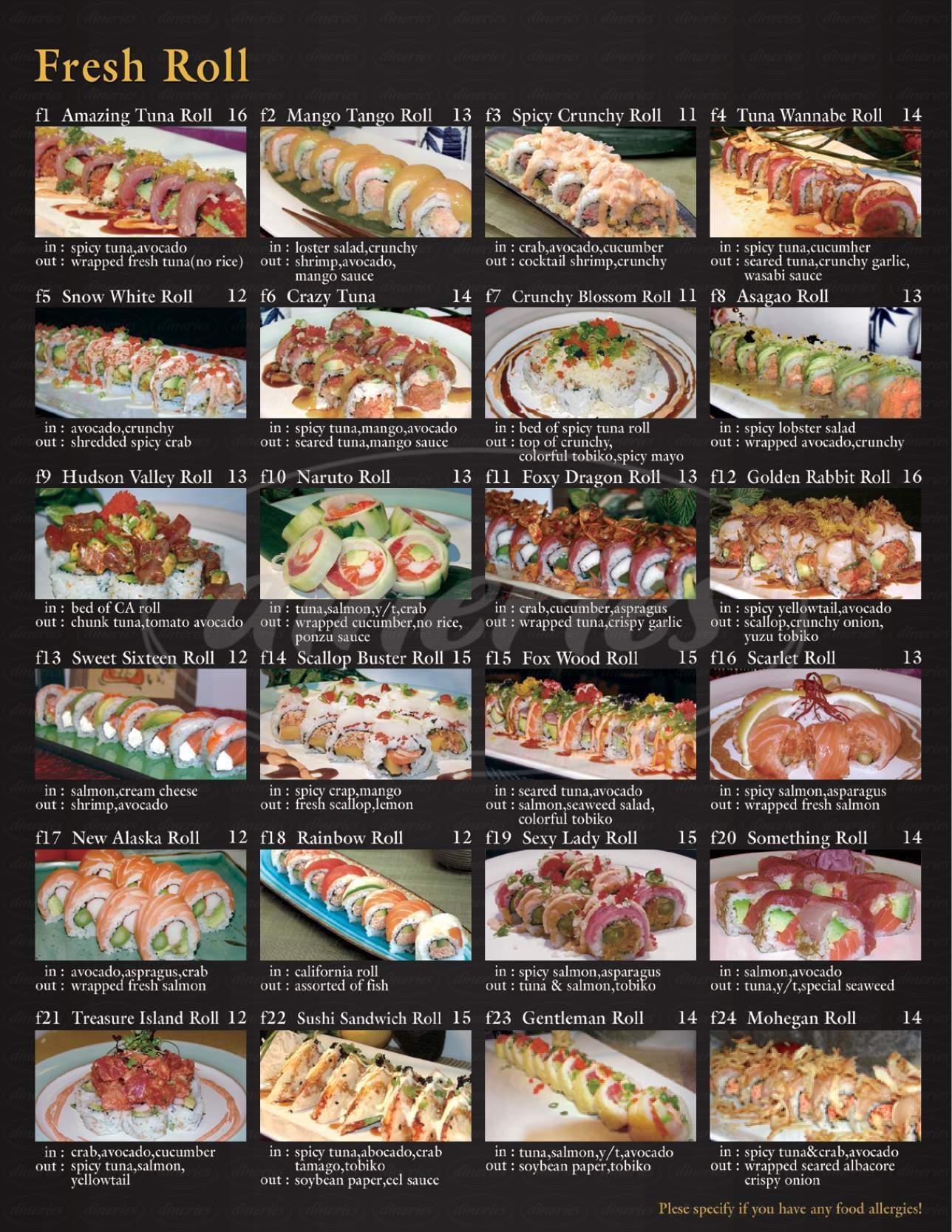 Asagao Sushi Big Menu - Croton On Hudson - Dineries