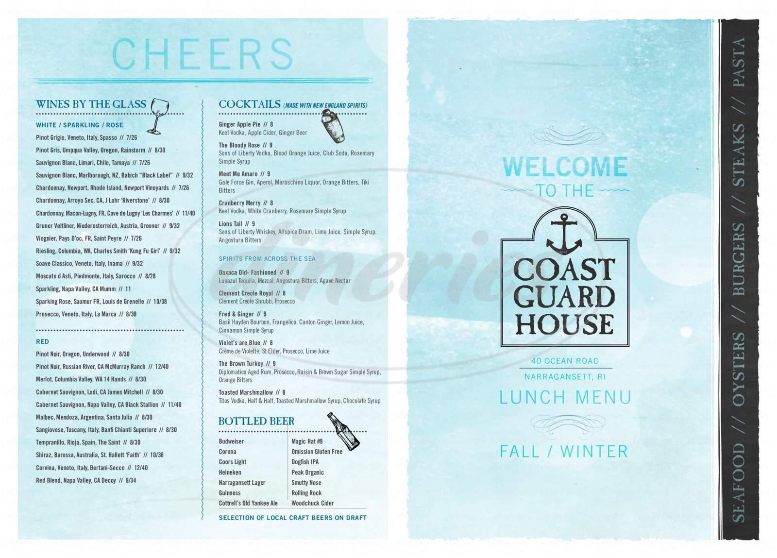 Coast Guard House Menu - Narragansett - Dineries