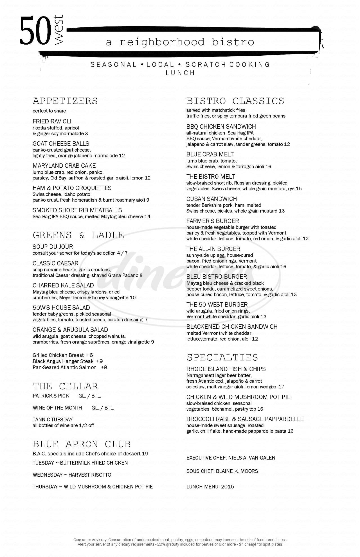 50 West Menu Plainville Dineries