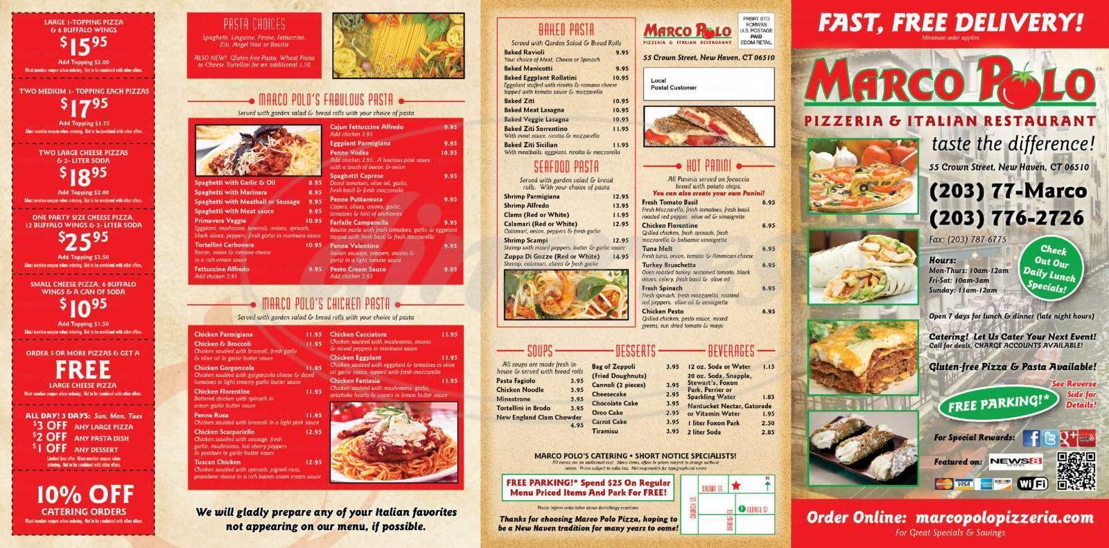23427ce385 Marco Polo Pizza and Italian Restaurant Menu - New Haven - Dineries